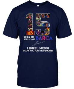 15 Year Of Barca 2005-2020 Lionel Messi Thank You For The Memories Navy Shirt