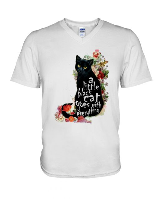 A Little Black Cat Goes With Everything v-neck