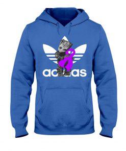 Baby Groot Hug Fibromyalgia Ribbon Adidas Royal Hoodie