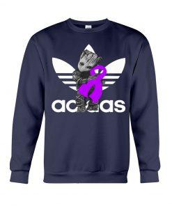 Baby Groot Hug Fibromyalgia Ribbon Adidas Sweatshirt