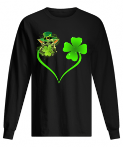 Baby Yoda Shamrock Love Heart Patrick's Day long sleeved