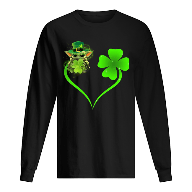 Baby Yoda Shamrock Love Heart Patrick's Day long sleeved