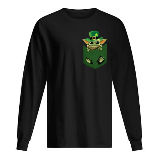 Baby Yoda St Patrick's day Pocket long sleeve
