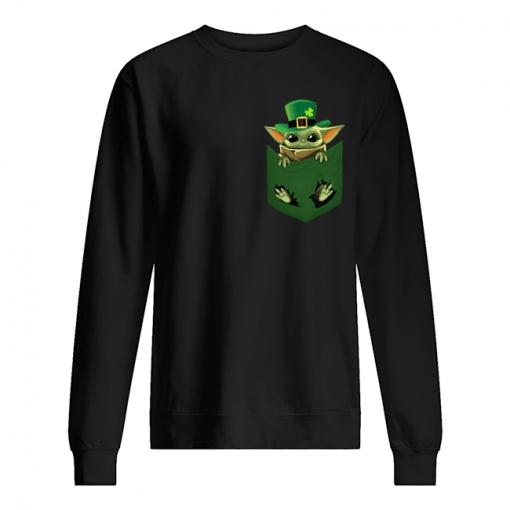 Baby Yoda St Patrick's day Pocket sweatshirt