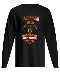 Dachshund hug Motor Harley Davidson Sleeved T-shirt