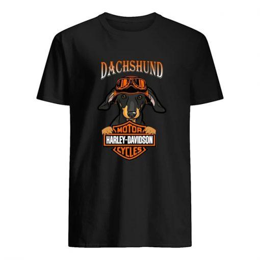 Dachshund hug Motor Harley Davidson T-shirt