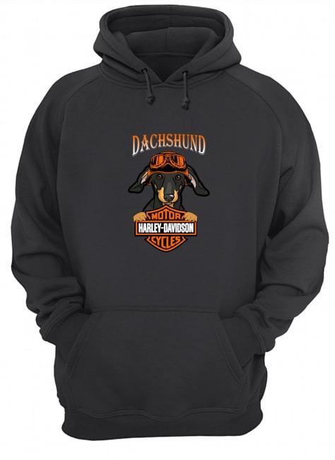 Dachshund hug Motor Harley Davidson Unisex hoodie