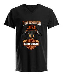 Dachshund hug Motor Harley Davidson V-neck