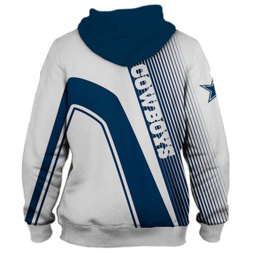 Dallas Cowboys stripes 3d hoodie back