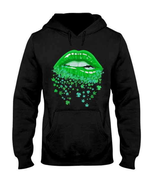 Glitter Lips Shamrock and Weed Kiss me I'm Highrish Hoodie