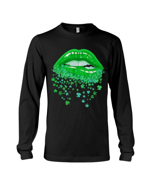 Glitter Lips Shamrock and Weed Kiss me I'm Highrish Long sleeve