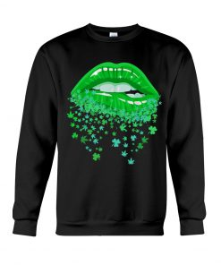 Glitter Lips Shamrock and Weed Kiss me I'm Highrish Sweatshirt