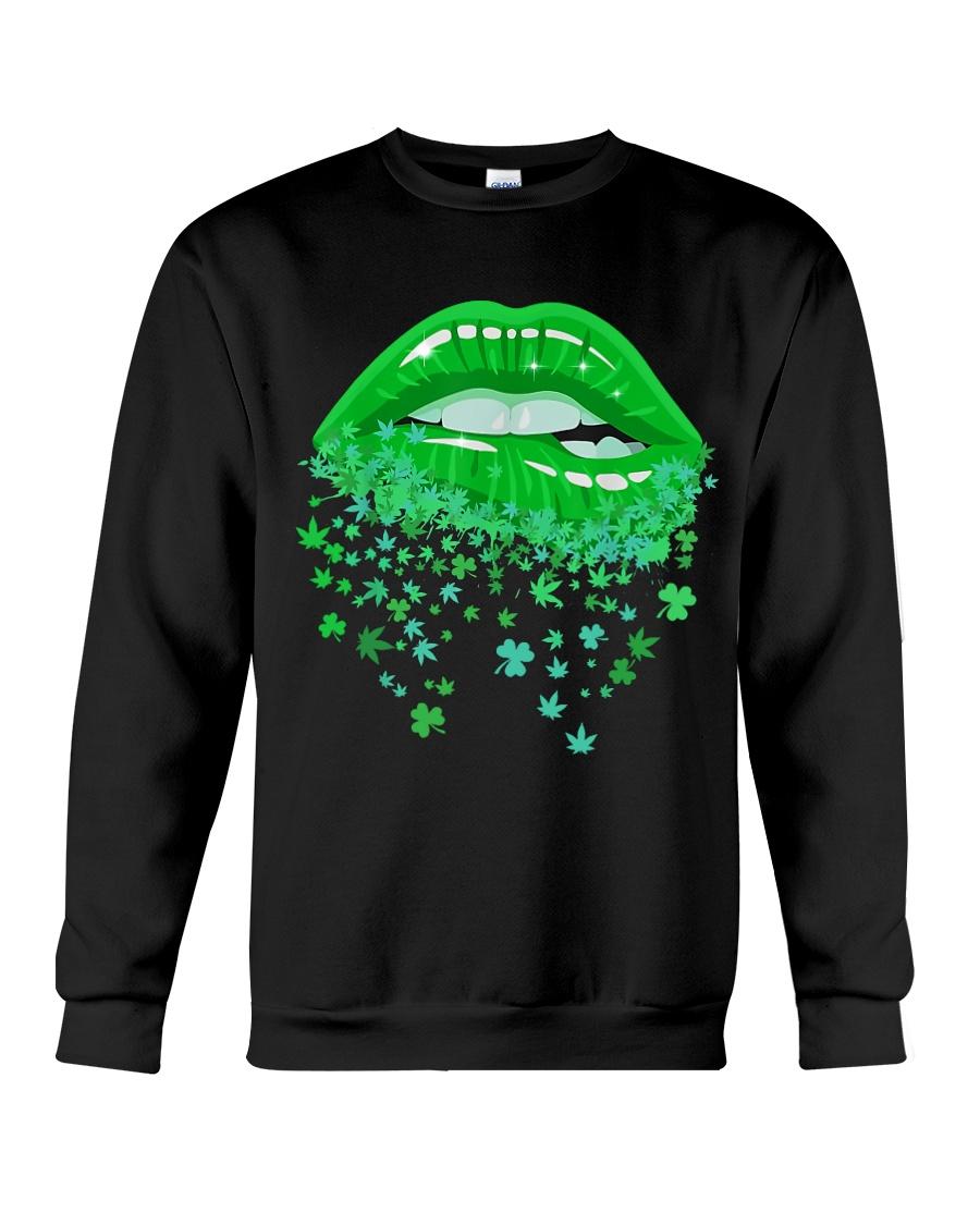 Glitter Lips Shamrock and Weed Kiss me I'm Highrish Sweatshirt
