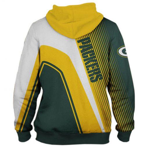 Green Bay Packers stripes 3d hoodie back