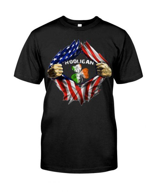 Hooligan St Patricks Day American flag Blac Shirt