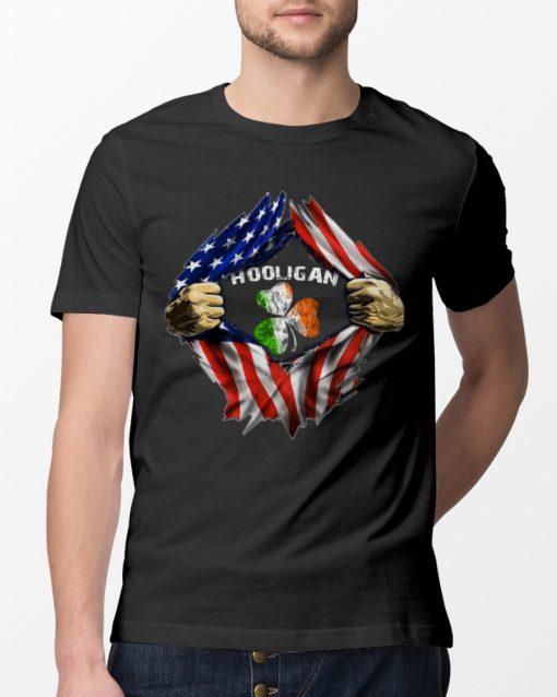 Hooligan St Patricks Day American flag Shirt