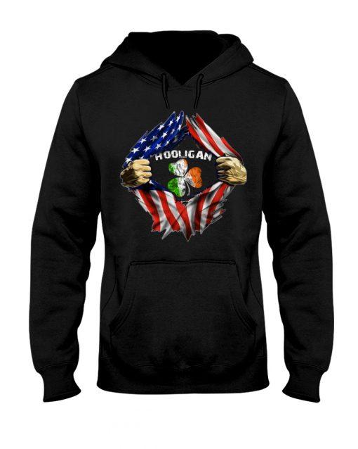 Hooligan St Patricks Day American flag hoodie