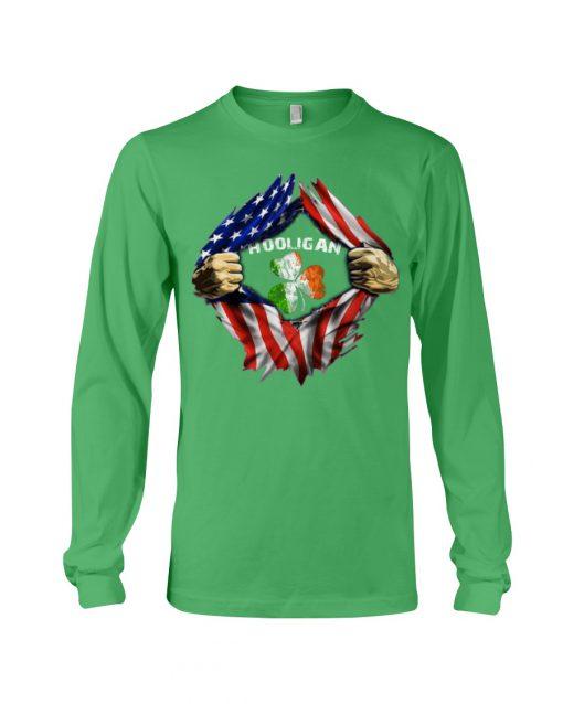 Hooligan St Patricks Day American flag long sleeve