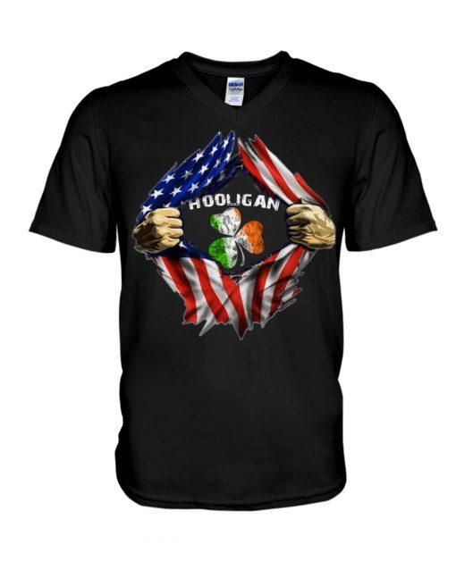 Hooligan St Patricks Day American flag v-neck