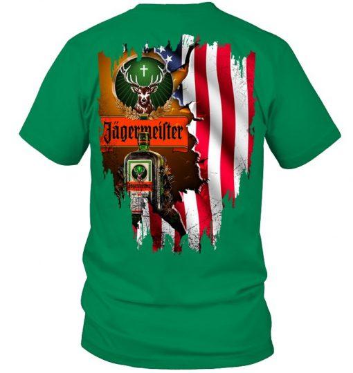 Jagermeister American Flag green shirt