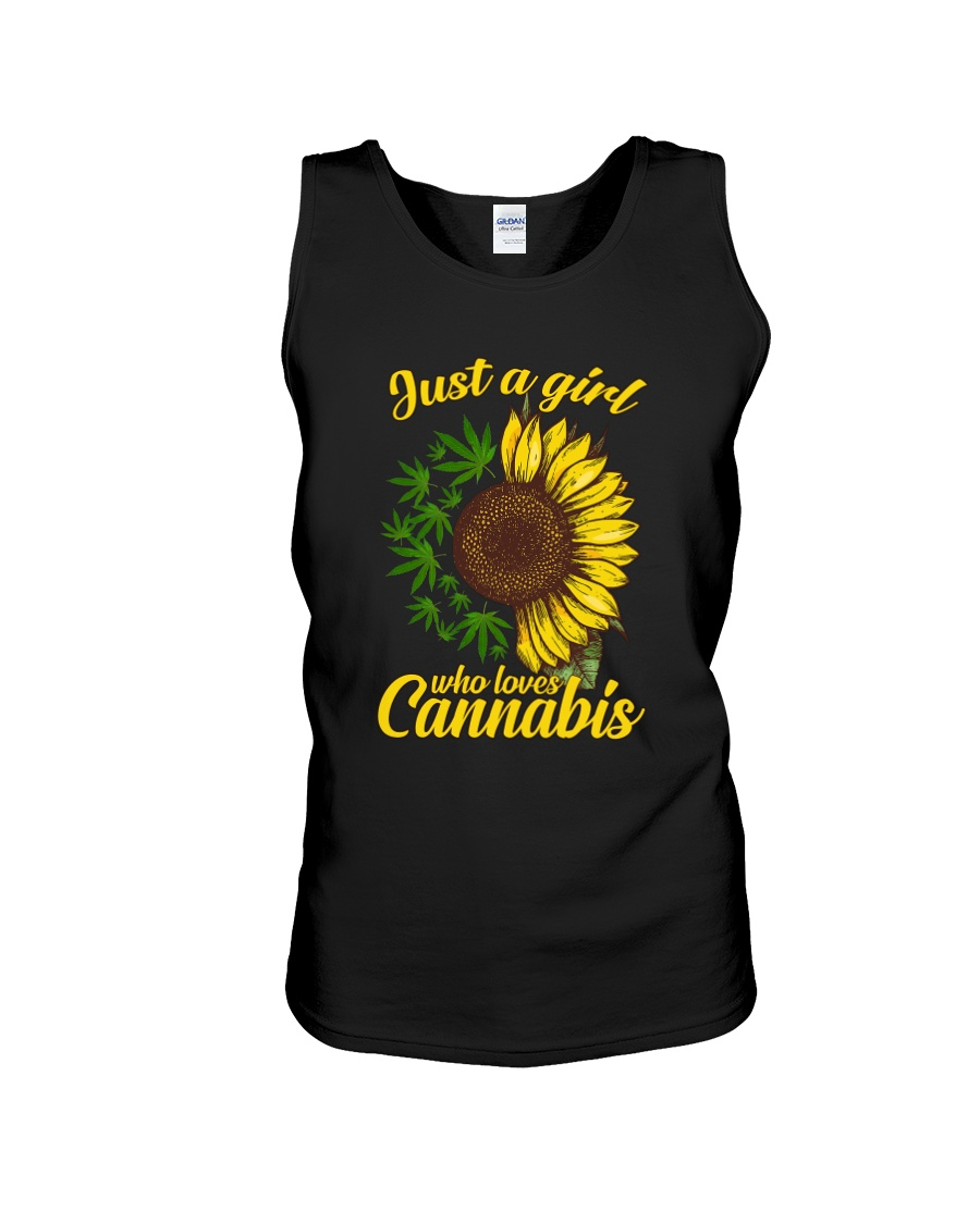 Just A Girl Who Loves Cannabis Weed Sunflowers tank top
