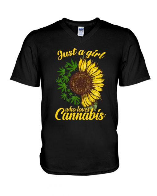 Just A Girl Who Loves Cannabis Weed Sunflowers v-neck