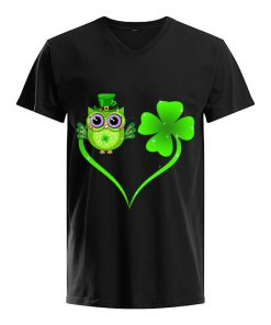 Lucky Owl Shamrock St Patrick's Day v-neck