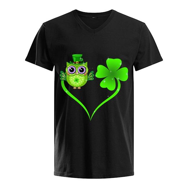 Lucky Owl Shamrock St Patrick's Day v-neck