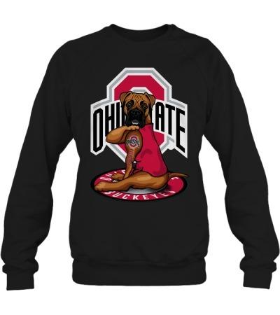 Ohio State Buckeyes Boxer dog tattoo sweatshirt