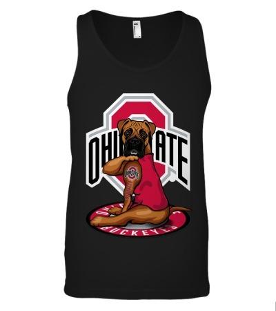 Ohio State Buckeyes Boxer dog tattoo tank top