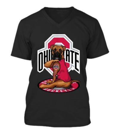 Ohio State Buckeyes Boxer dog tattoo v-neck