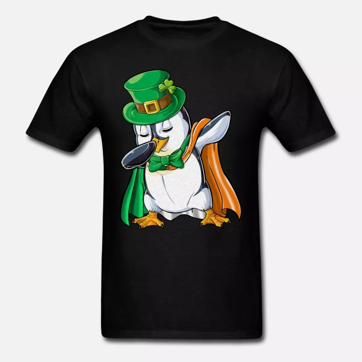 Penguin Dabbing Leprechaun Irish Flag Shirt