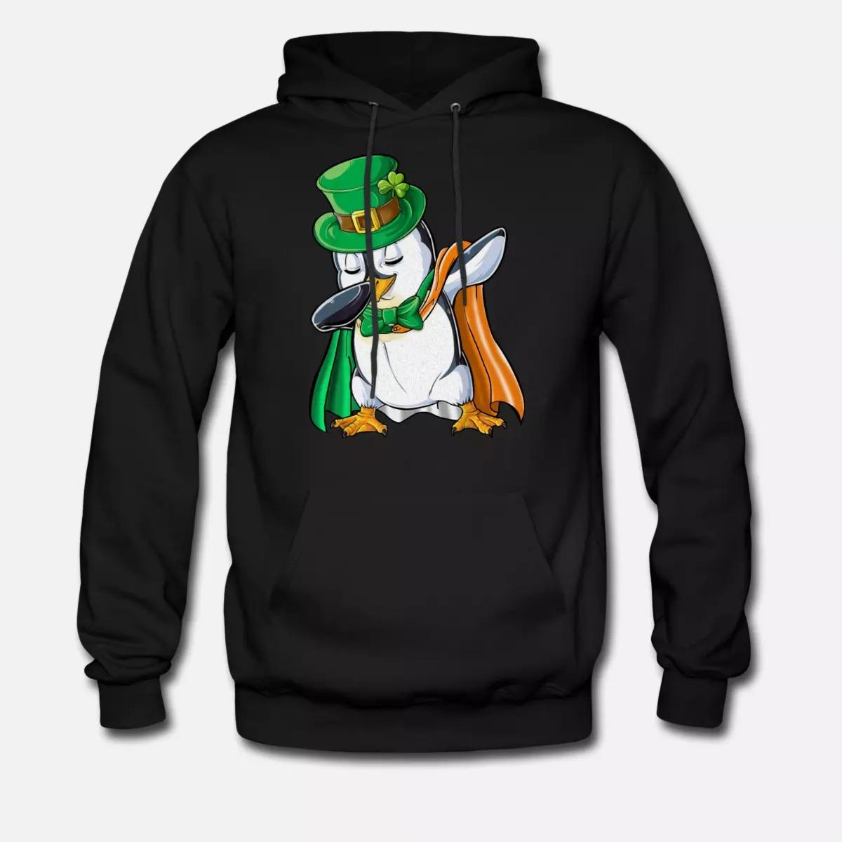 Penguin Dabbing Leprechaun Irish Flag hoodie