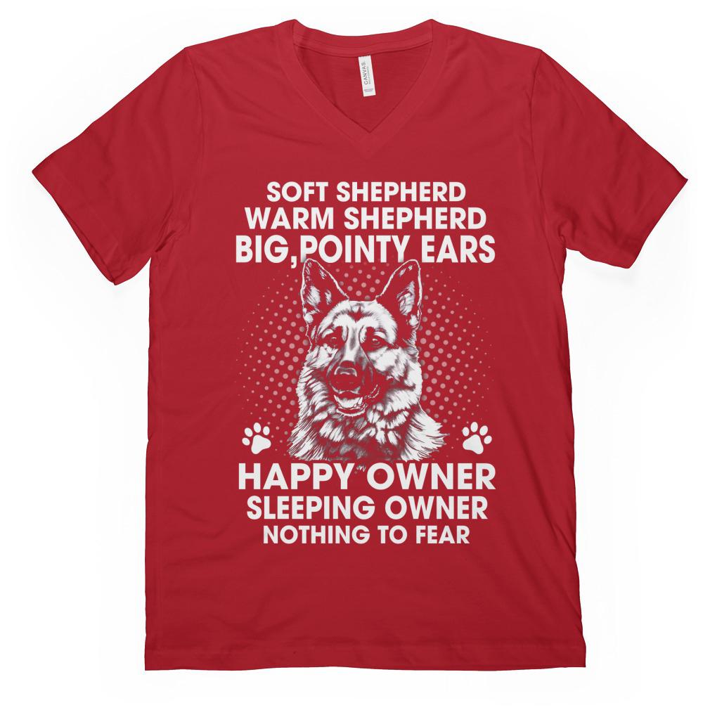 Soft Shepherd Warm Shepherd Big, Pointy Ears Happy Owner Sleeping Owner Nothing To Fear v-neck