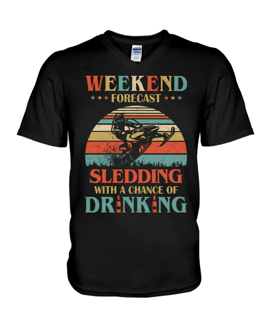 Weekend Forecast Sledding Chance Of Drinking vintage v-neck