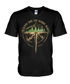 Always take the scenic route v-neck