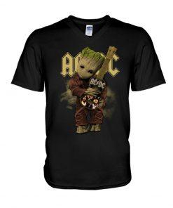 Baby Groot hug AC-DC v-neck