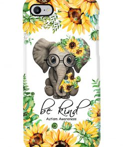 Be kind Autism Awareness Elephant Sunflower phone case 7