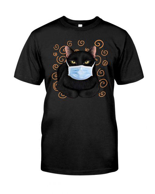Black cat wearing mask shirt