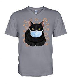 Black cat wearing mask v-neck