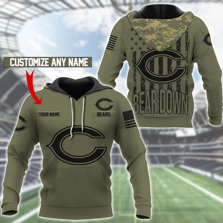 Chicago Bears Camo American Flag 3D hoodie