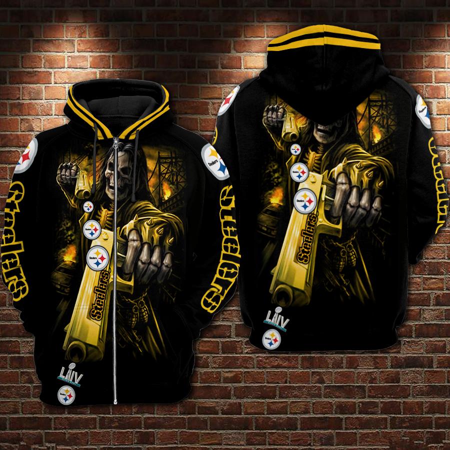 Death Skull Gun Pittsburgh Steelers Super Bowl 2020 3D zip hoodie