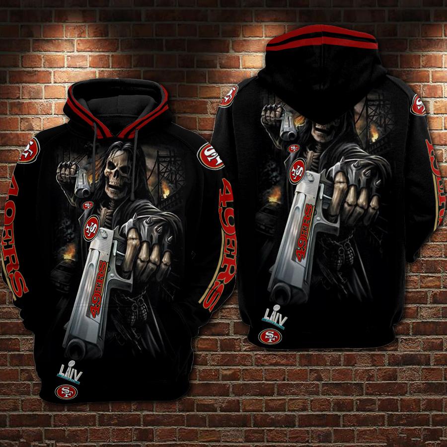 Death Skull Gun San Francisco 49ers Super Bowl 2020 3D hoodie