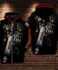 Death Skull Gun San Francisco 49ers Super Bowl 2020 3D zip hoodie