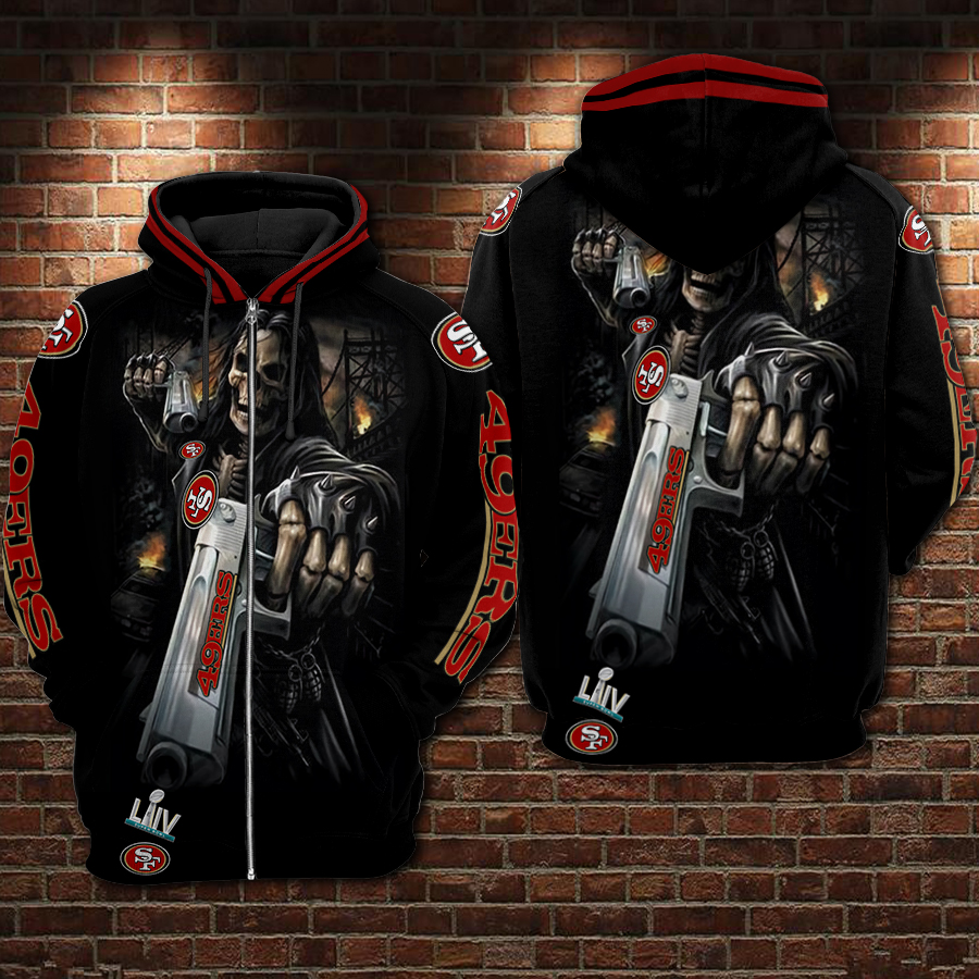 Death Skull Gun San Francisco 49ers Super Bowl 2020 3D zip hoodie