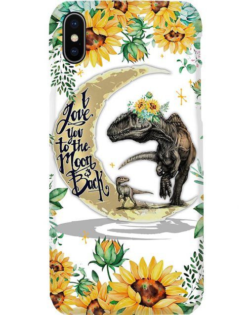 Dinosaur and Sunflower I love you the moon and back phone case x