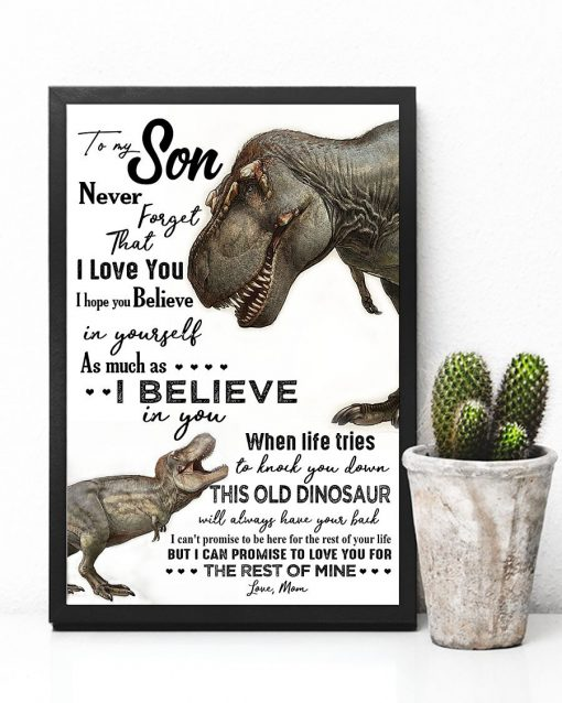 Dinosaurs Mom To my son never forget that i love you poster 3