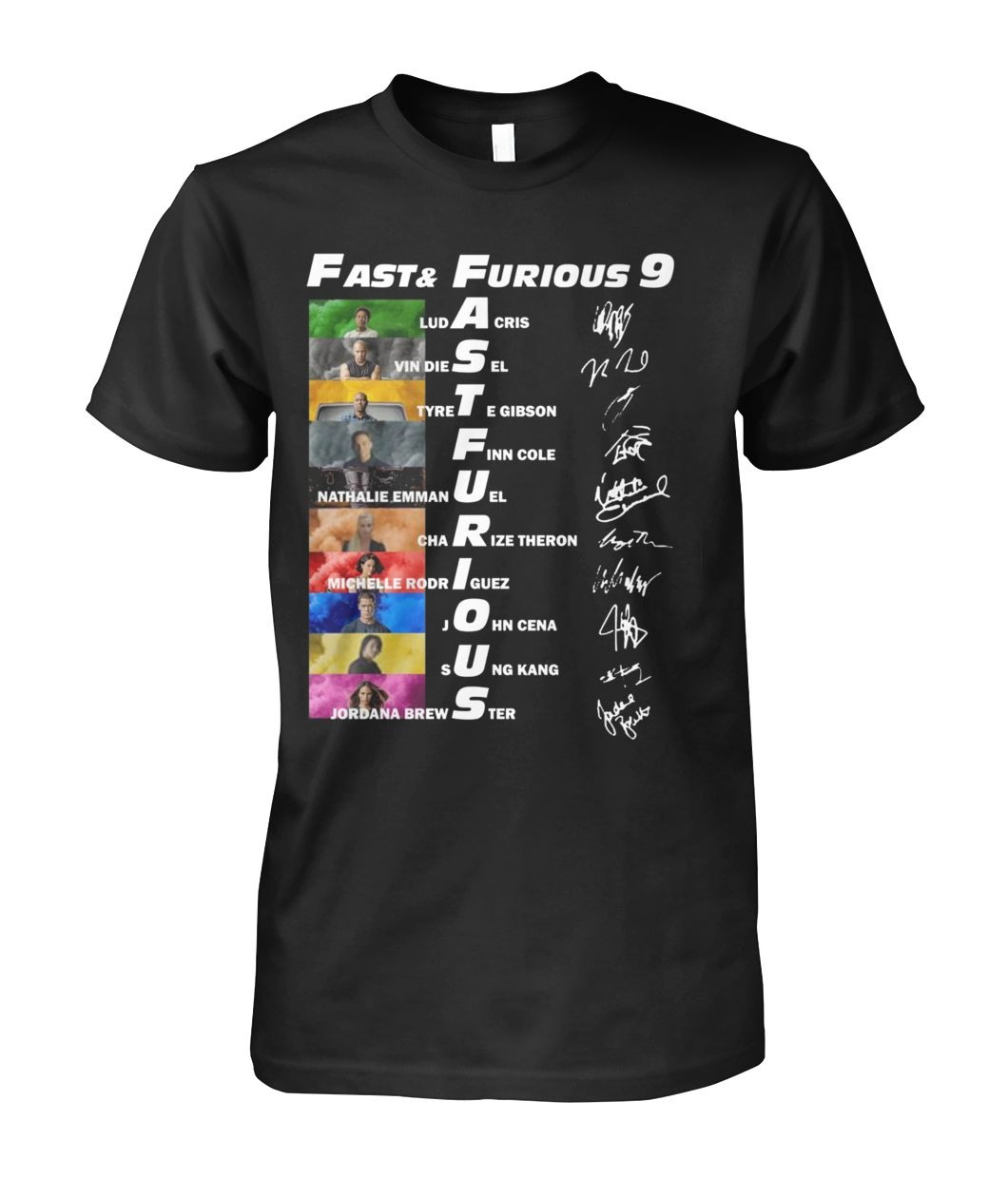 Fast and Furious 9 character signatures T-shirt