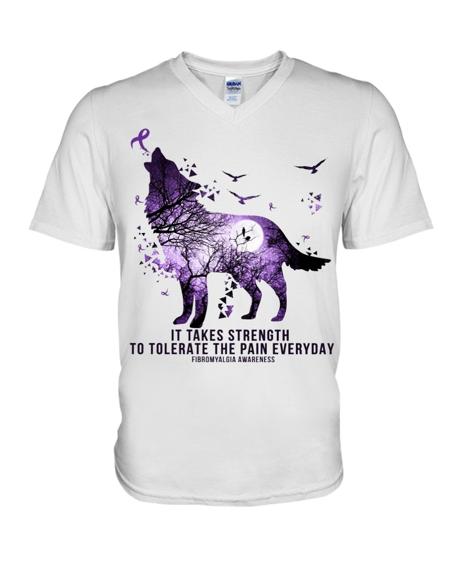 Fibromyalgia Awareness It takes strength to tolerate the pain everyday Purple Wolf v-neck