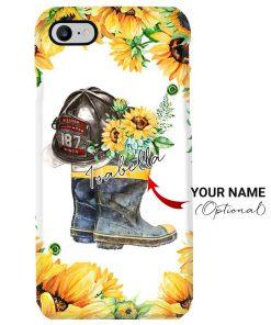 Firefighter Sunflower phone case Custom name